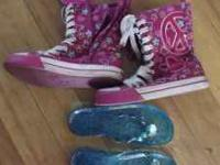I have a pair of blue sandals and a pair of pink high