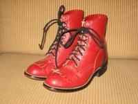 gently worn, children's red Justin roper lace-ups size