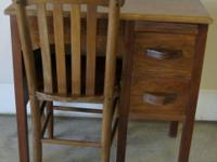 Vintage Children's School Desk & Chair Both are Solid