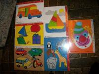 Children's Wooden Puzzles: Airplanes, boats, bus, car &