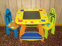 Childrens Crayola Art table and two chairs. Chalk and