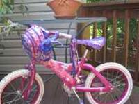 "CHILDS BARBIE BIKE WITH HELMET 16"" WHEELS LIKE NEW CALL"