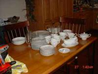 China dinnaware. 8 piece place setting. Plus 8 crystal