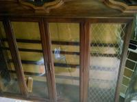 2 PC heavy wooden China cabinet with glass doors and