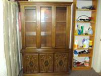 china cabinet real nice and has light and two glass