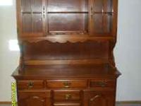 MAPLE OR CHERRY CHINA CABINET ,top will separate from