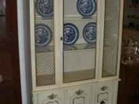 Lovely China Cabinet has off-white finish with gold