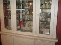 White 2-piece heavy wood china cabinet with lighted