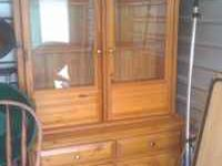 Solid Pine China Cabinet Some general nicks, but in