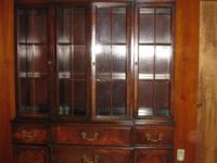 SOLID Cherry Wood BREAKFRONT CHINA CABINET56L X 17 W X