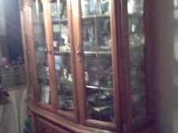 Solid Oak China Cabinet Inside display lights In great