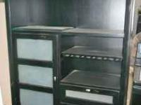 China cabinet black with rustic edges in excellent