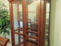 Solid Wood China Cabinet. Lighted with glass shelves