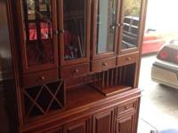Very nice serving china cabinet made of cherry wood by