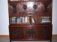 Beautiful hand carved teak wood china cabinet from