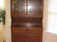 Beautiful solid walnut wood china hutch. Excellent