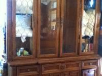 Antique Burle Walnut China hutch in 2 pieces. The hutch