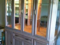 Light wood very nice china hutch glass shelves , mirror