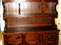 Description Beautiful china hutch, pine wood stained