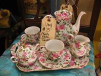 JUST ARRIVED VERY NICE CHINA ROSE TEA SET IN BOOTH