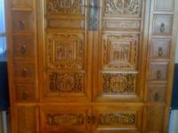 Chinese Armoire/Cabinet  Antique panels in new piece.