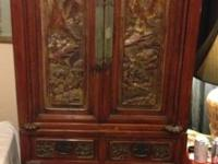 Beautiful hand carved ,all wood,brass latches, in great