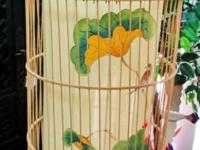 This beautiful hand made wooden bird cage lamp with