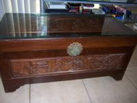 Very nice carved Chinese cedar chest from Hong Kong in
