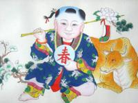 This is a Chinese watercolor painting of a boy, holding