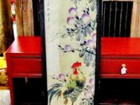 This beautiful hand painted Chinese scroll in the old
