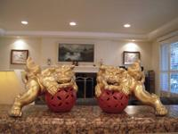 A pair of very nice handmade Chinese lucky lion with