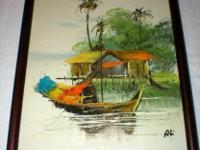 This Original Oil on Canvas is a Chinese Bungalow