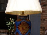 OLD CHINOISERIE TABLE LIGHT  THIS IS A LARGE OLD