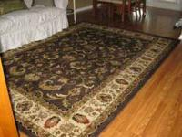 Beautiful 8 x 10 chocolate brown and ivory rug with