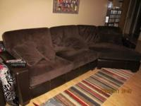 Obo Microfiber Sectional Sofa Chocolate Brown For Sale In