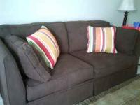 Chocolate, microfiber couch bought 9/4/11, hardly used,