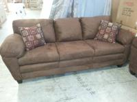 New in Plastic! Chocolate Microfiber Sofa and Love