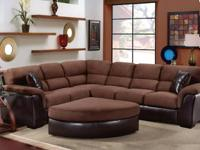 The deep chocolate brown of this large sectional will