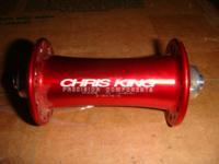 1) Red Chris King front mountain bike hub - non disc.