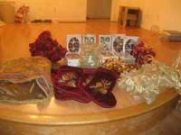 Brown, Gold, and Burgandy Christmas decor-gold bows--