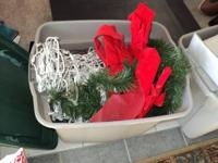 3 tubs full of decorations must go outdoor lights