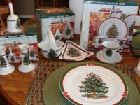 Ribbons and Tree Holiday Porcelain China by Topco 12