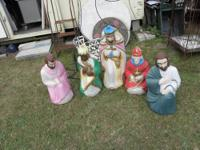FIVE VINTAGE PLASTIC CHRISTMAS HOLIDAY LAWN DECORATIONS