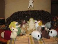 10 piece handmade nativity figures. Each is approx. 4