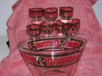 Christmas Punch Bowl set with 8 matching glasses and