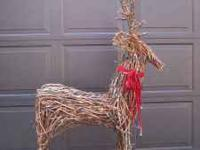 Christmas reindeer,wicker with lights for outside