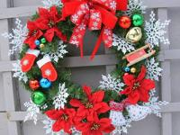 Custom made Christmas wreath. Old fashioned wooden