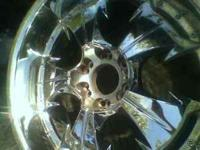 "Really nice 22 "" chrome 6 lug rims with tires excellent"