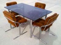 Beautiful 1970's Chrome and smoked glass dining table