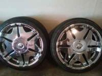 "chrome set of 4 20"" inch rims look good a lil cerve"